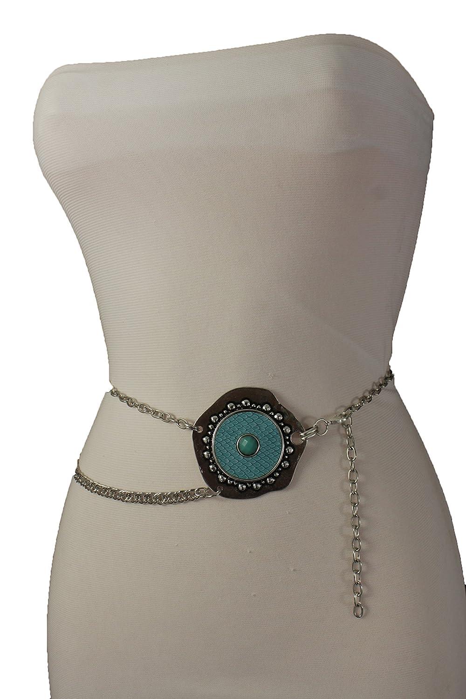TFJ Women Fashion Belt Hip Waist Silver Metal Chain Retro Blue Charm XS S M