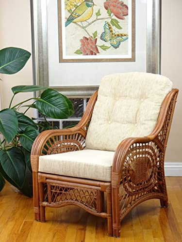 Malibu Lounge Armchair ECO Natural Rattan Wicker Handmade Design with Cream Cushion, Colonial Light Brown