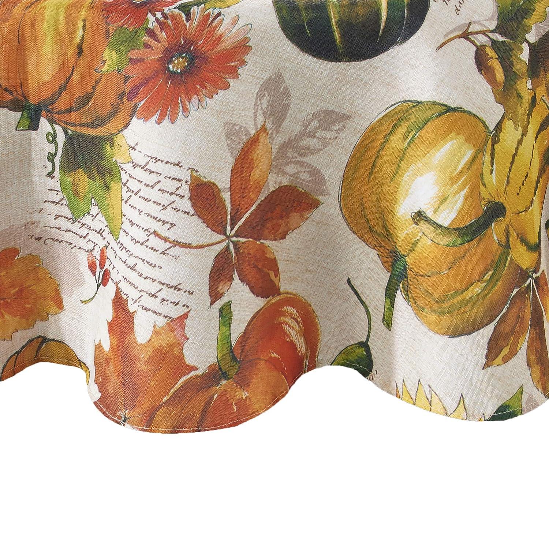 "Elrene Home Fashions Grateful Season Fall Printed Tablecloth, 70"" Round, Multi"