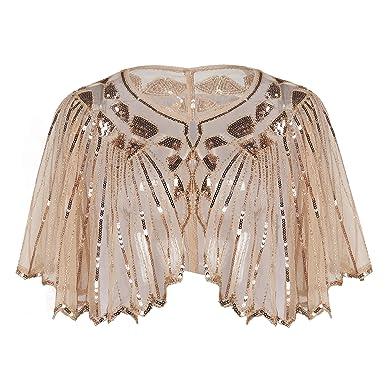PrettyGuide Damen Stola Abendkleid Perlen Pailletten Art Deco 20er ...