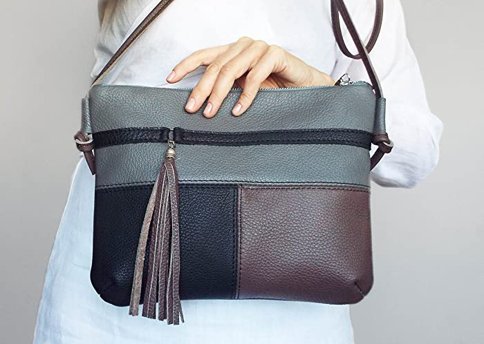 8a1d7f267b69 Small leather tassel purse. Gray black brown leather shoulder bag. Everyday leather  purse.  Handmade