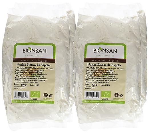 Bionsan Harina Blanca de Trigo Espelta Ecológica | 4 Paquetes de 500 gr | Total: 2000 gr