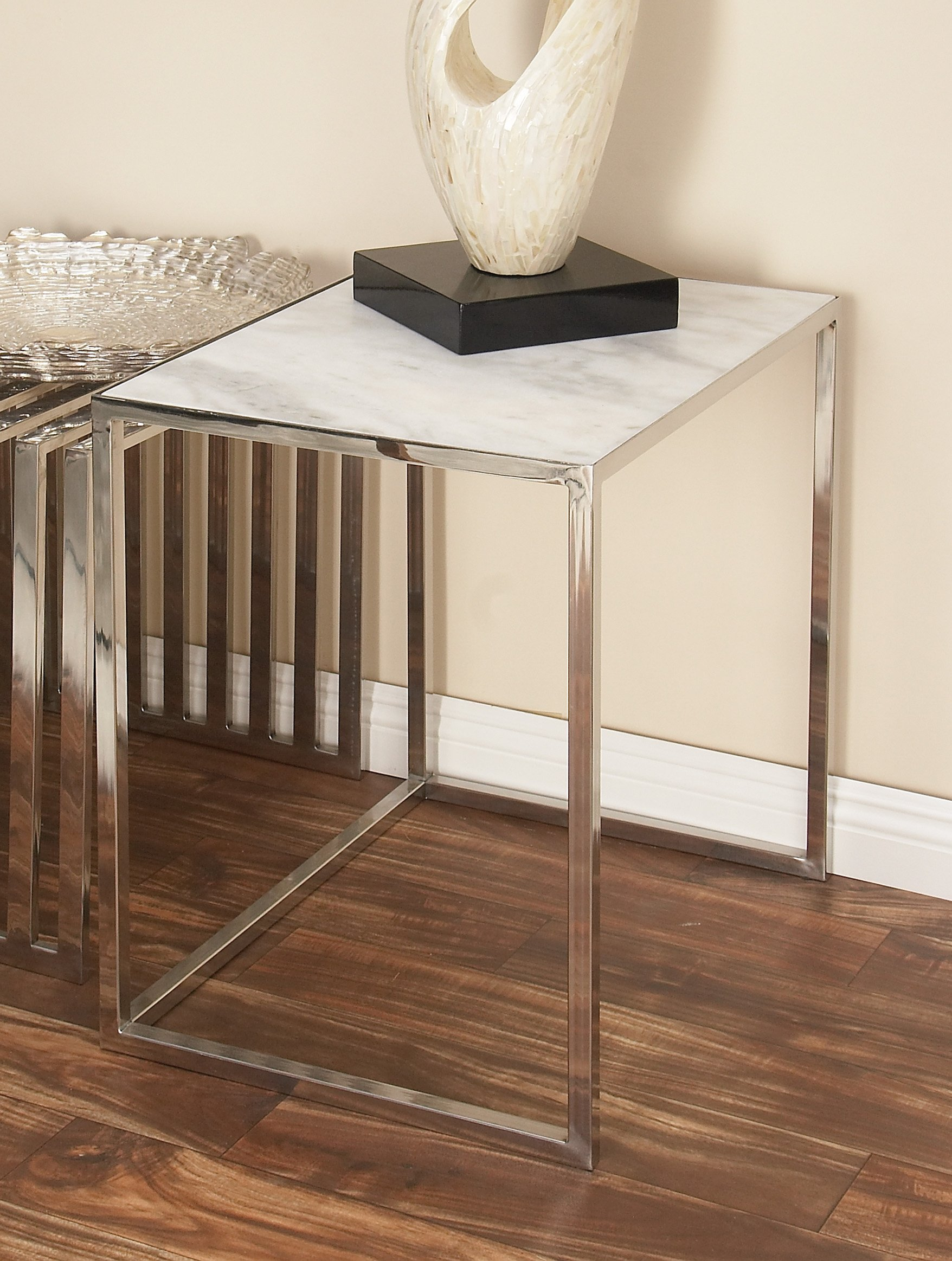 Deco 79 49605 Stainless Steel Marble Nesting Tables (Set of 2), 24''/20'' by Deco 79 (Image #4)