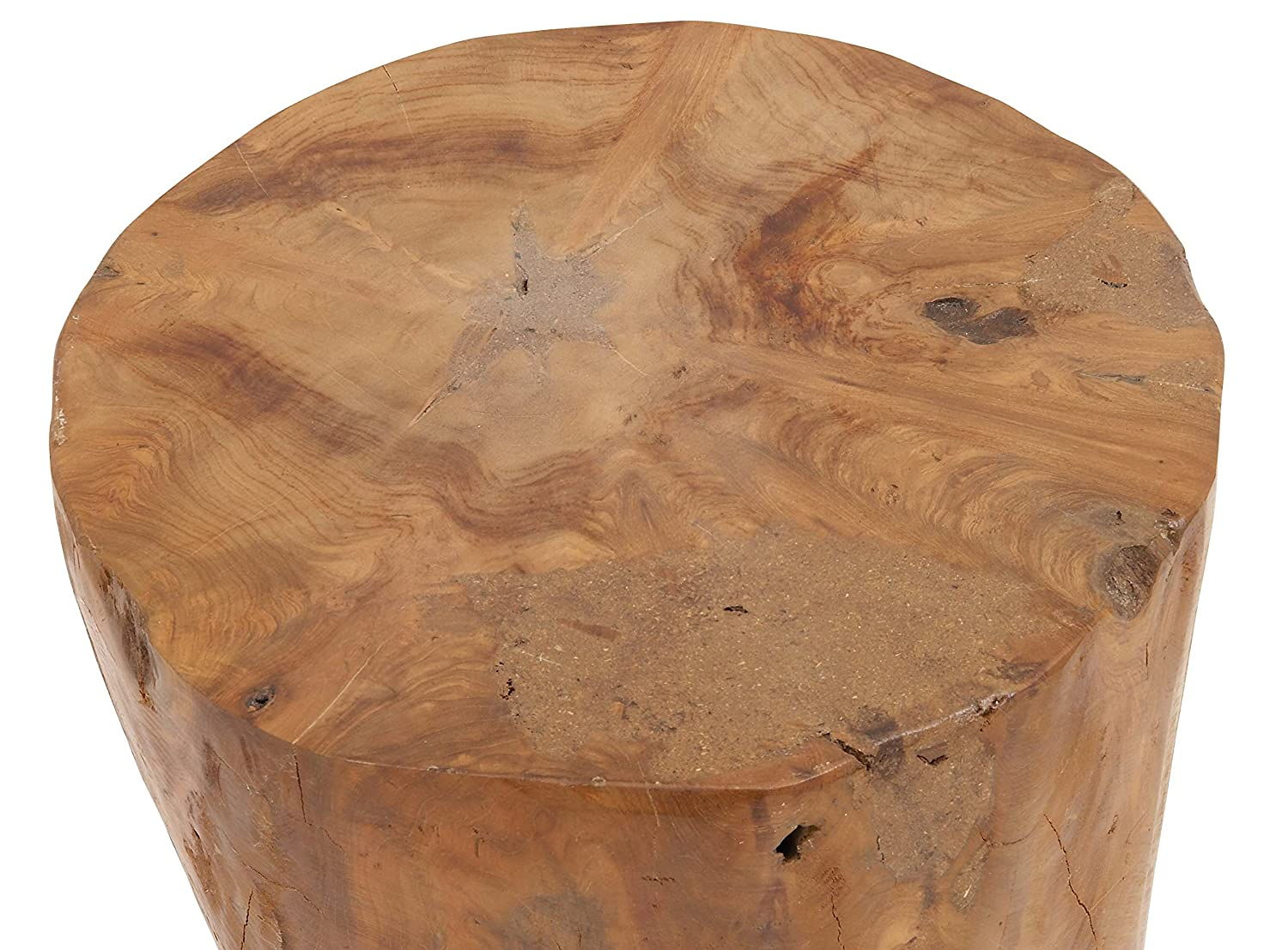 Deco 79 50840 Teak Wood Stool Natural 16 x 12 Round Resin-Finished Medium Mahogany Brown//Clear