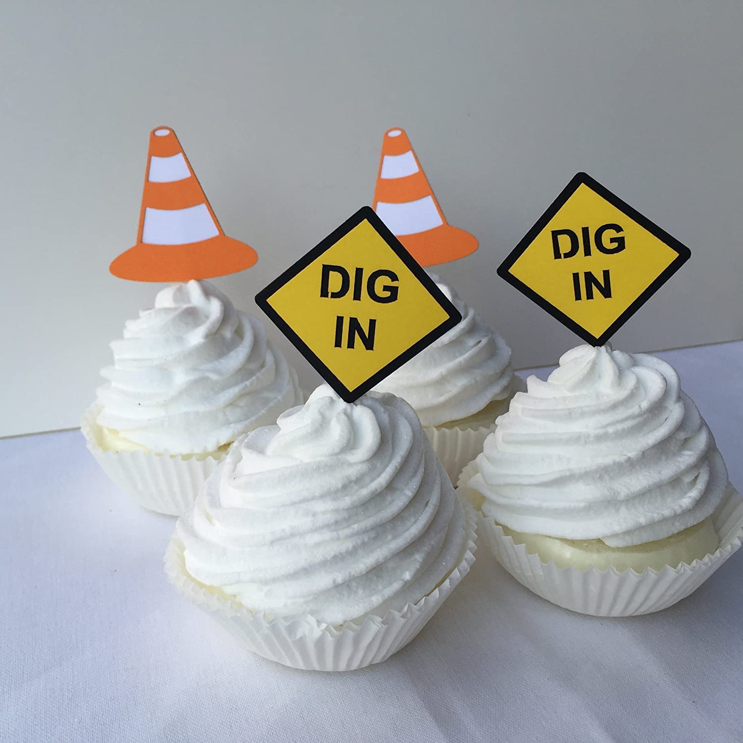 Construction Theme Birthday Party Cupcake Toppers Set of 12
