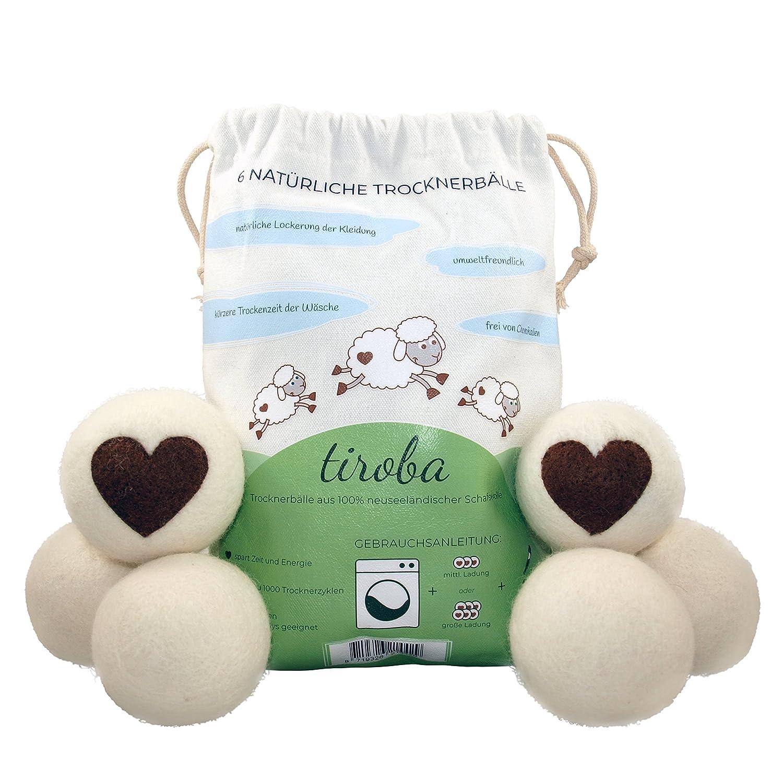 6palline asciugatrici premium XL in lana di pecora della Nuova Zelanda, asciugatura più veloce e delicata del bucato, alternativa all'ammorbidente, capi molto morbidi, risparmiate tempo, adatte ad ogni tipo di bucato tiroba