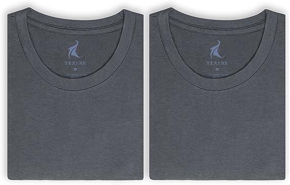 Texere Crew Neck Undershirt for Men Bamboo Viscose 2 Pack Tee for Him Dexx