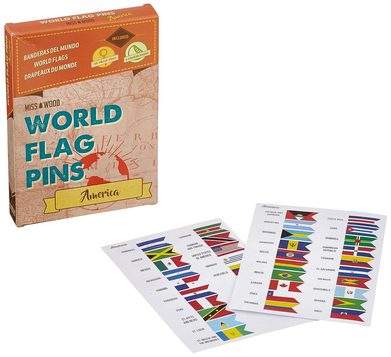 Miss Wood America Banderas del Mundo World Flag Pins, Adhesivo, Rosa ...