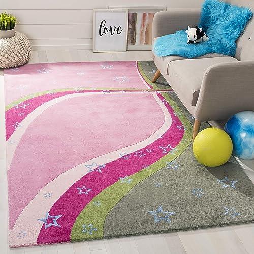 Safavieh Safavieh Kids Collection SFK338A Handmade Green and Pink Cotton Area Rug 4 x 6