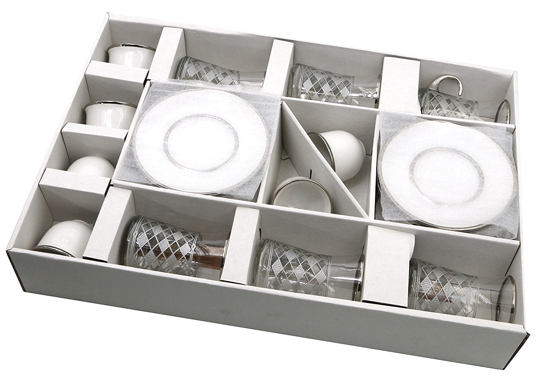 Maruf Platinum Turkish Tea Glasses with Saucers and Turkish Mirra Coffee Sets 5 OZ Set of 6