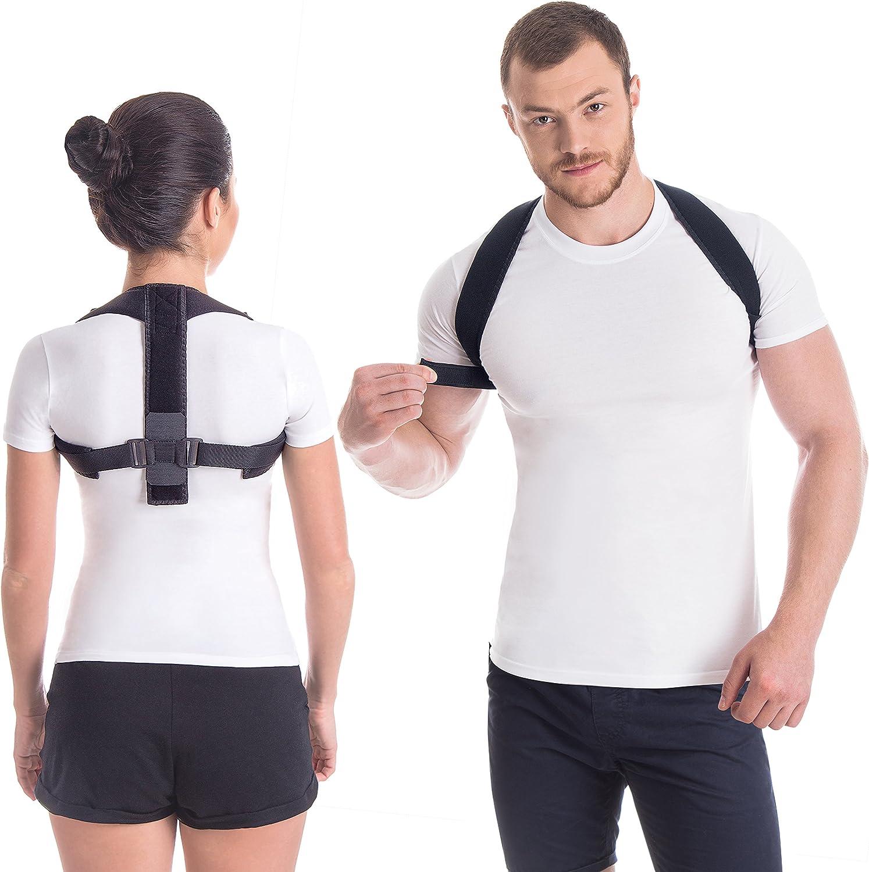 """Corrector postural """"Gracia""""; soporte terapéutico ajustable para el cuello y la espalda; para la clavícula; Corsé Ortopédico para Escoliosis Cifosis; Alivio del Dolor de Espalda Large"""