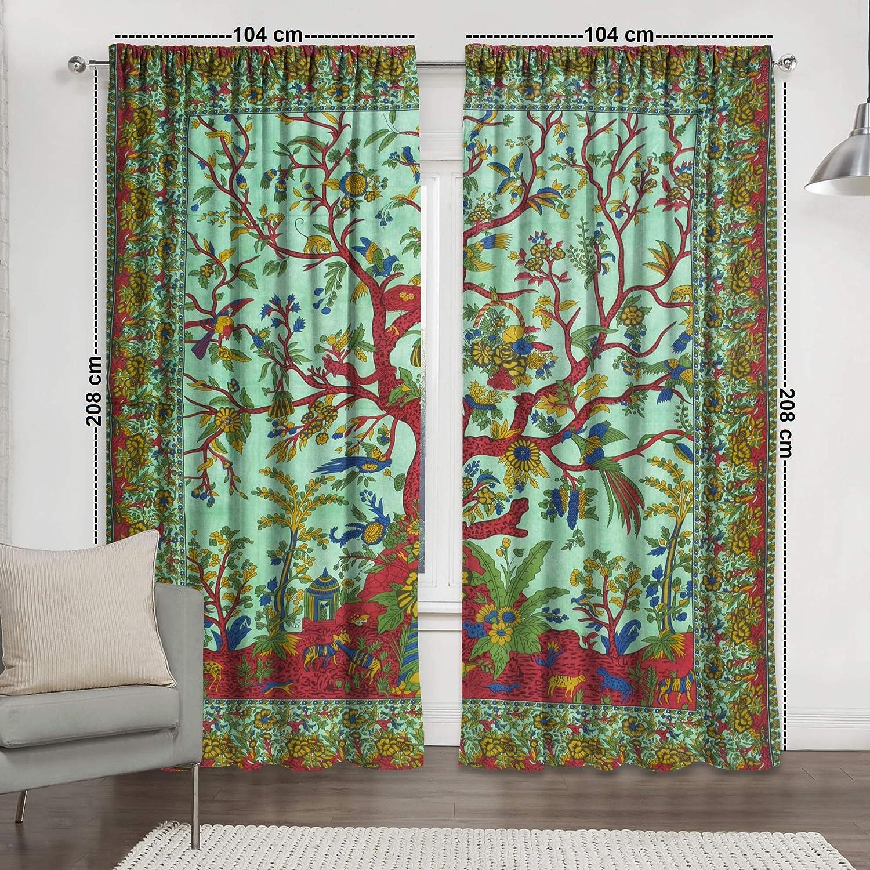 Rod Pocket Tree Of Life Window Door Curtain Balcony Arch Curtain Hippie Decor