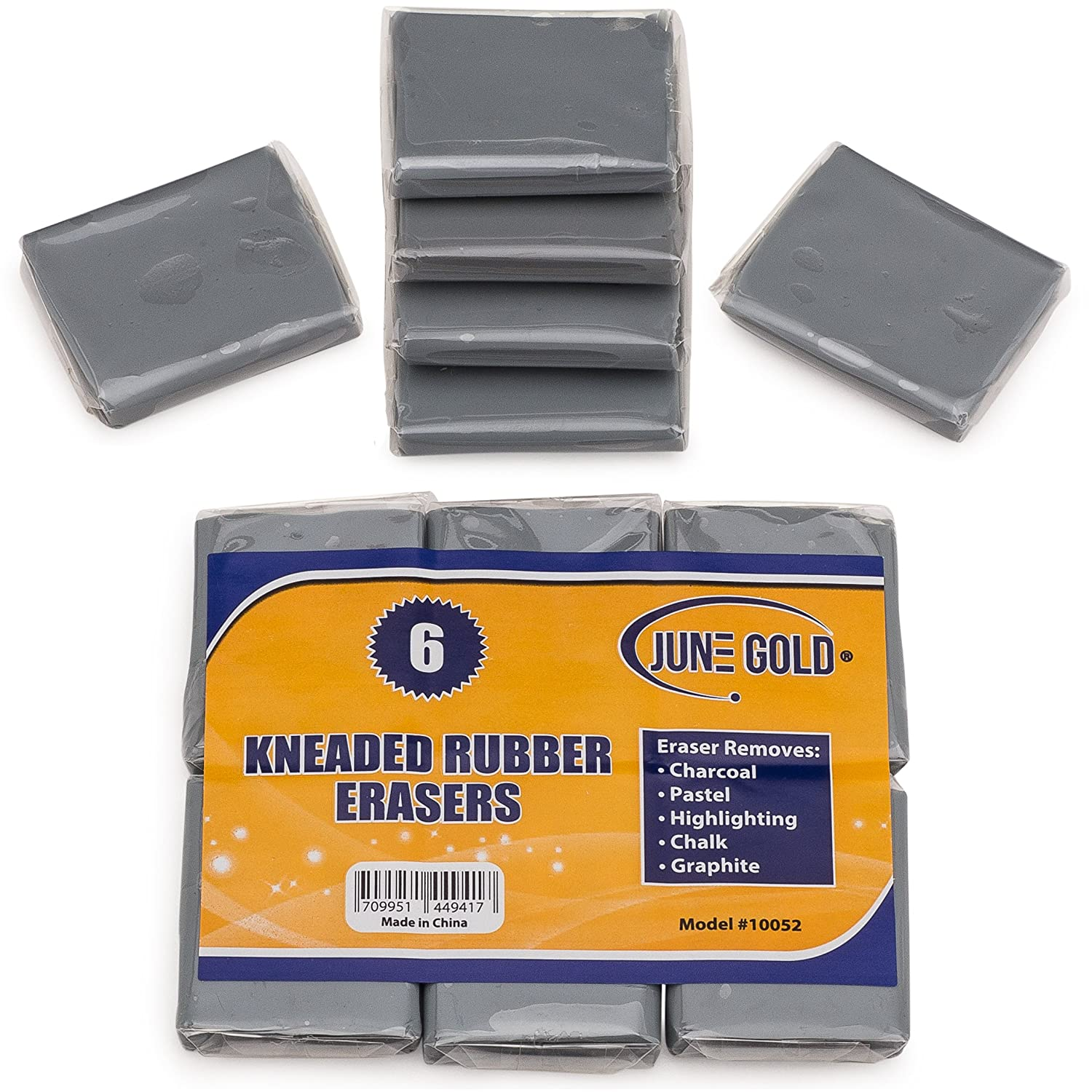 June Gold Kneaded Rubber Erasers (6 Pack) - Blend, Shade, Smooth, Correct, and Brighten Your Sketches and Drawings 4336950583