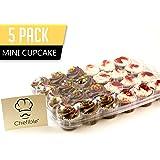 Chefible 24 Mini Cupcake Container, Cupcake Box, Mini Cupcakes, 5 Pack