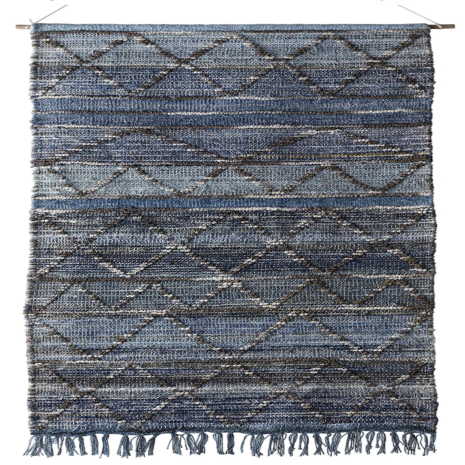 2.5' x 5' Soft Slate and Pale Baby Gray Blue and Artic White Hand Woven Hanging Wall Decor