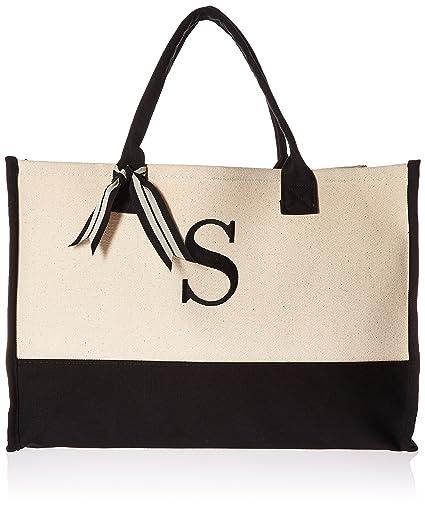 amazon com mud pie 501117 s initial canvas tote tote handbags