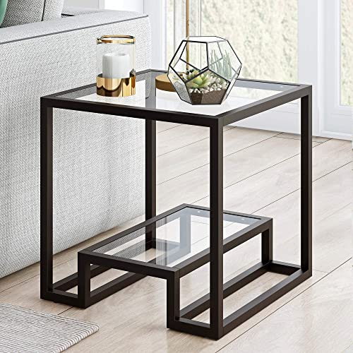 Henn Hart Modern Geometric-Inspired Glass Side Table, Black