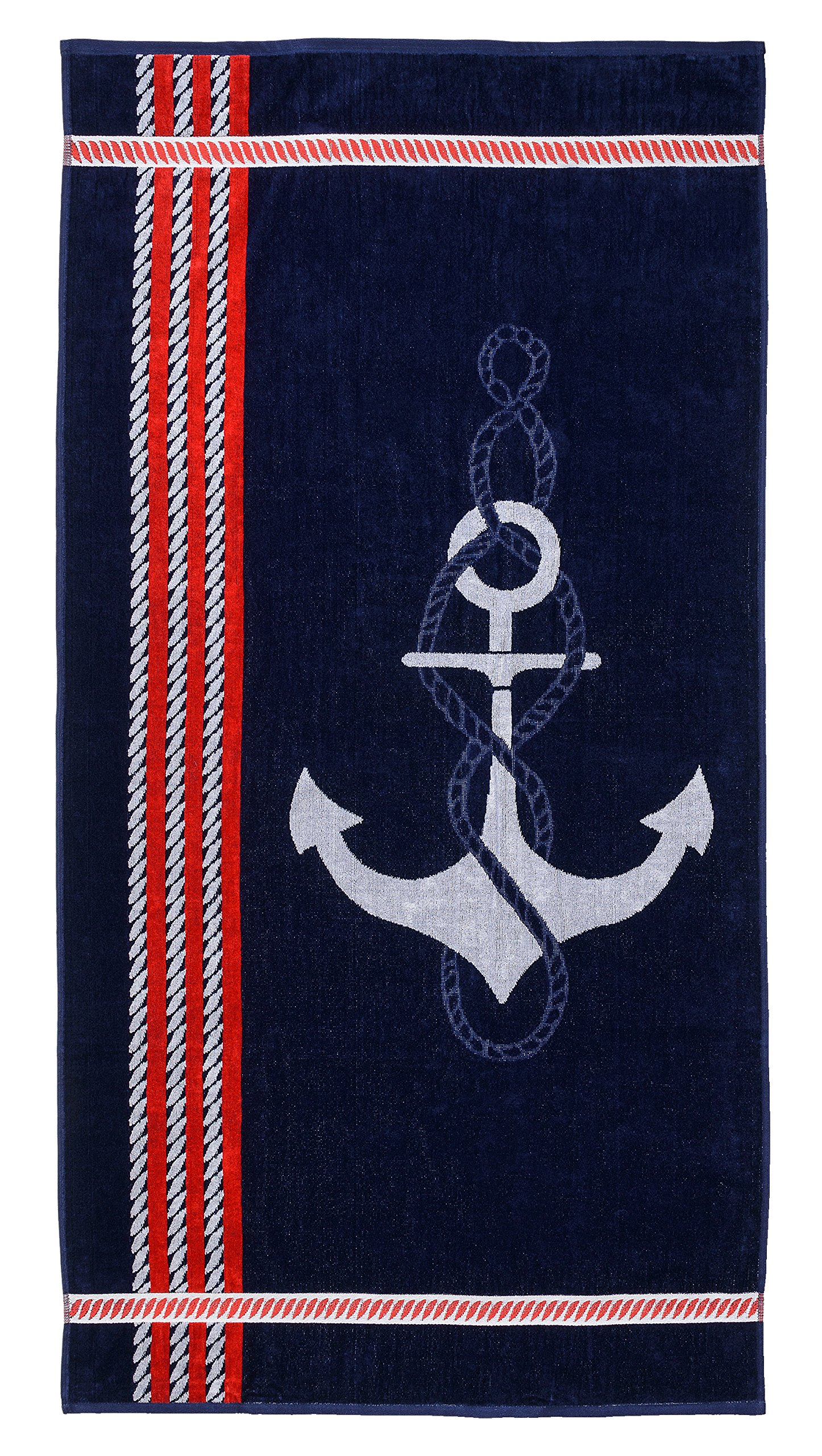 Superior Luxurious 100% Cotton Beach Towels, Oversized 34'' x 64'', Soft Velour Cotton and Absorbent Cotton Terry, Thick and Plush Nautical Beach Towels - Anchor