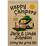 Happy Campers Personalized 5th Wheel Campsite Sign, Garden Flag, Customize Your Way, Flag Only (Black/Gray Trim Color)