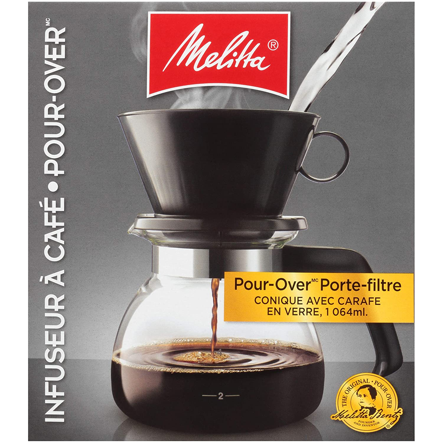 Melitta Pour-Over Coffee Brewer w/ Glass Carafe, 6 Cups (6 ...