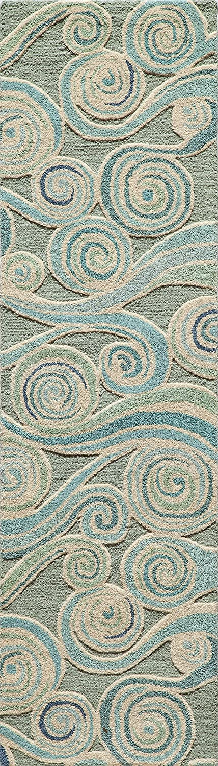 Momeni Rugs DUNESDUN-8LBL2030 Dunes Collection, Hand Tufted 100% Wool Transitional Area Rug, 2' x 3', Light Blue 2' x 3'