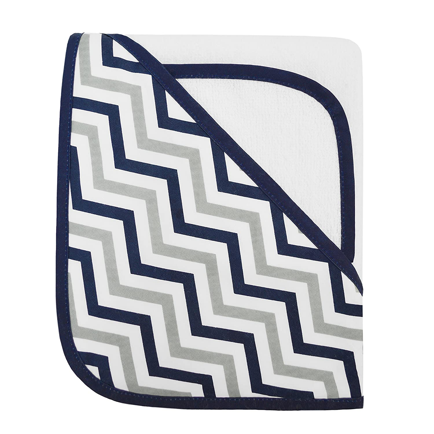 American Baby Company Zigzag Terry Hooded Towel Set Made with Organic Cotton, Dark Navy, for Boys