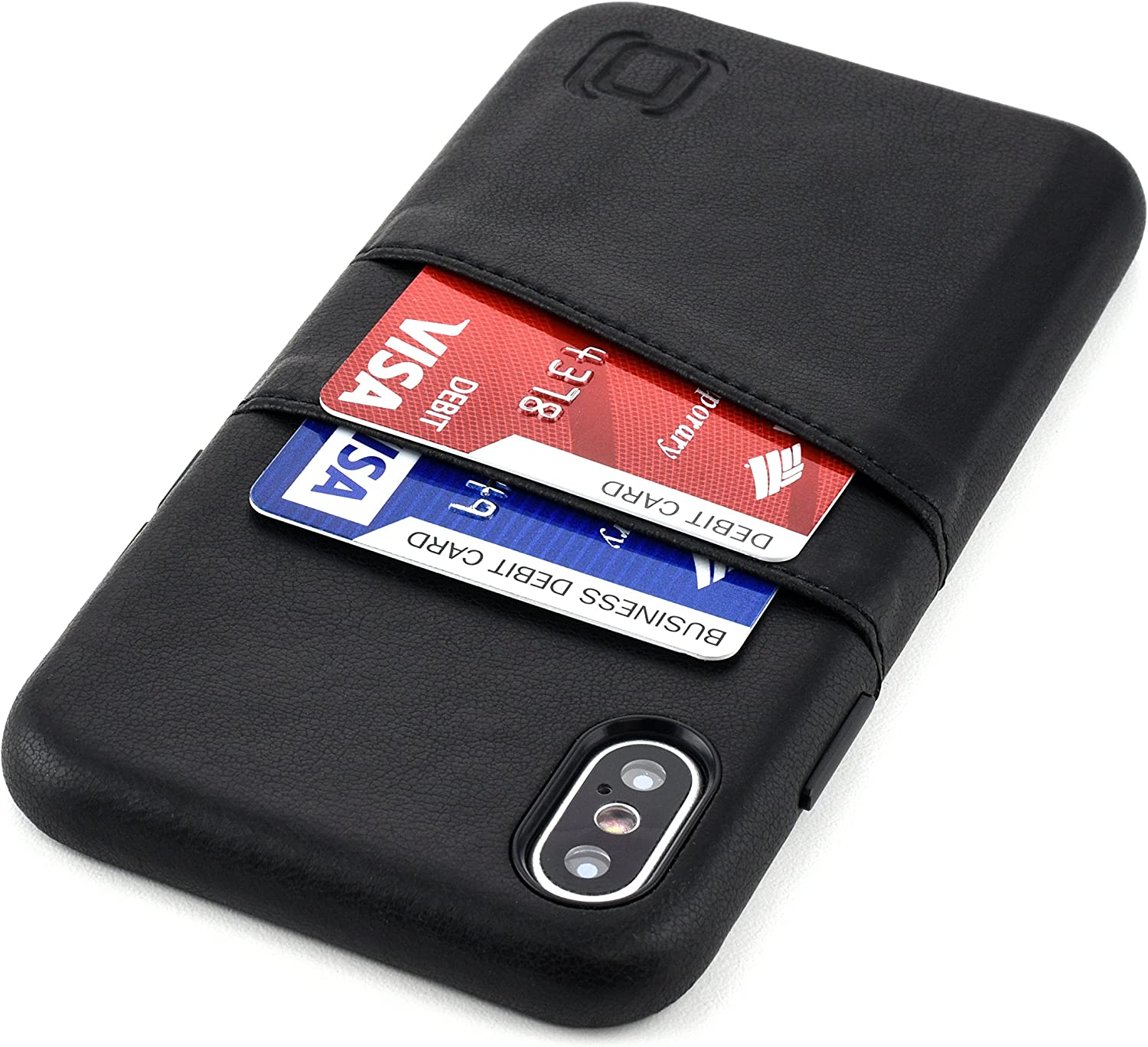 Dockem Exec iPhone X/XS Wallet Case: Slim Vintage Synthetic Leather Case with 2 Credit Card/ID Holder Slots, Simple Professional Snap On Cover [Black]