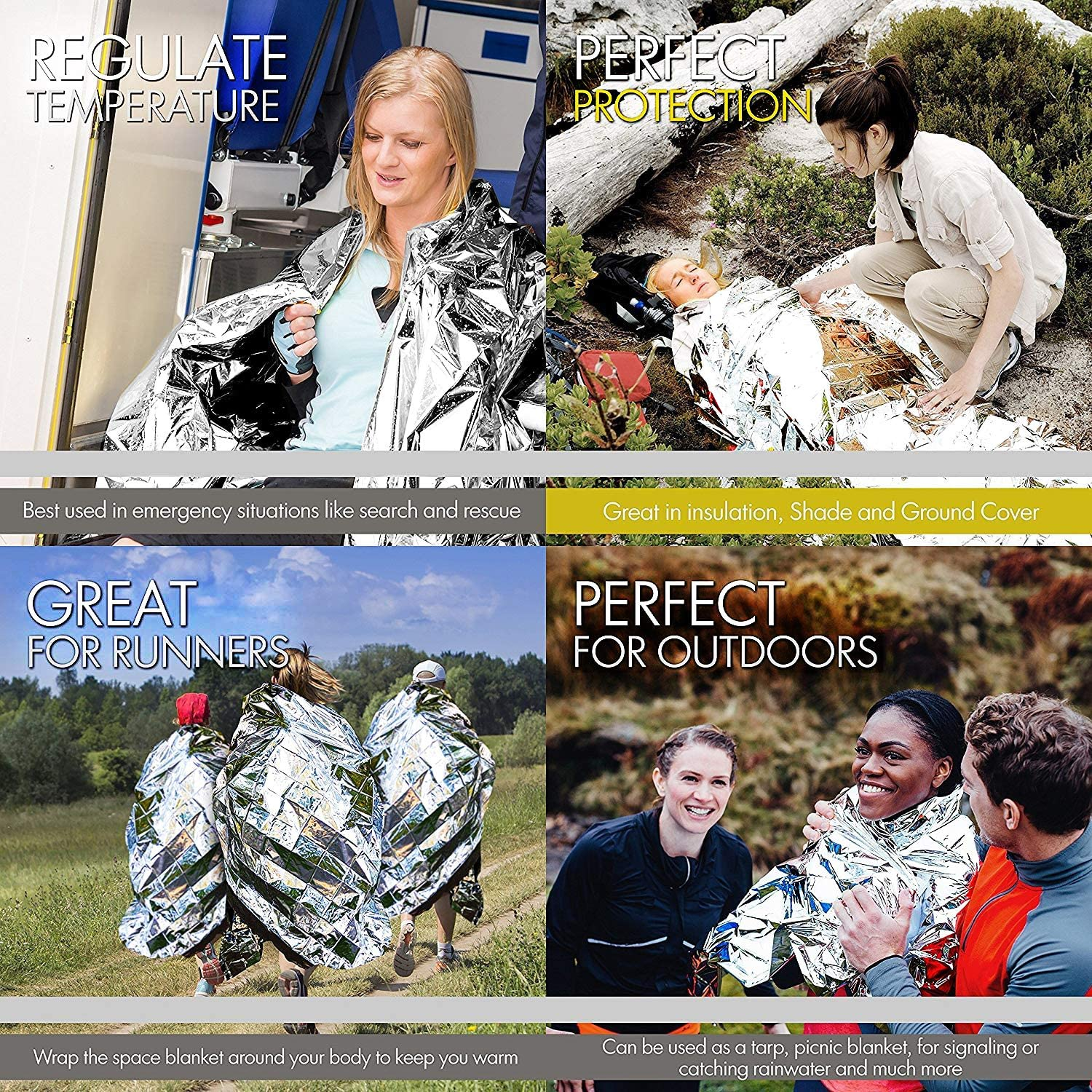 Disasters Emergency. 4-Pack First Aid Kit Camping Hiking Mylar Blanket Perfect for Outdoor EVERLIT Emergency Thermal Blankets Space Blankets Survival Blankets
