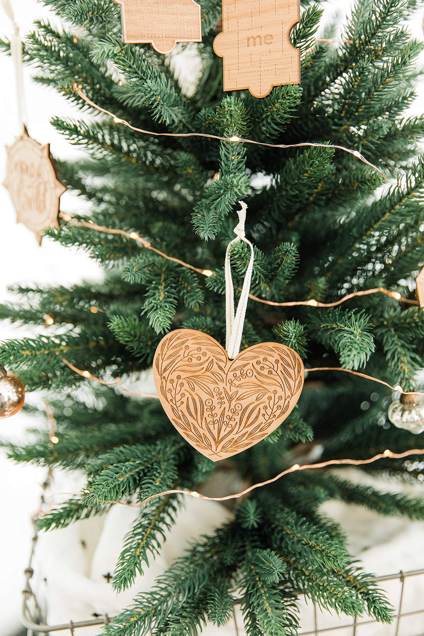 Floral Heart Laser Cut Wood Ornament (Christmas/Holiday / Anniversary/Newlyweds / Keepsake) by Cardtorial (Image #2)