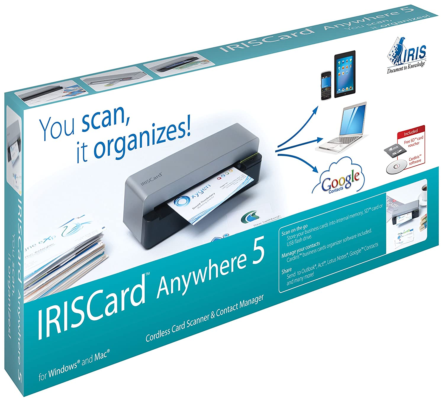 IRIS - IRISCard Anywhere 5 Cordless Card Scanner & Contact Manager I ...
