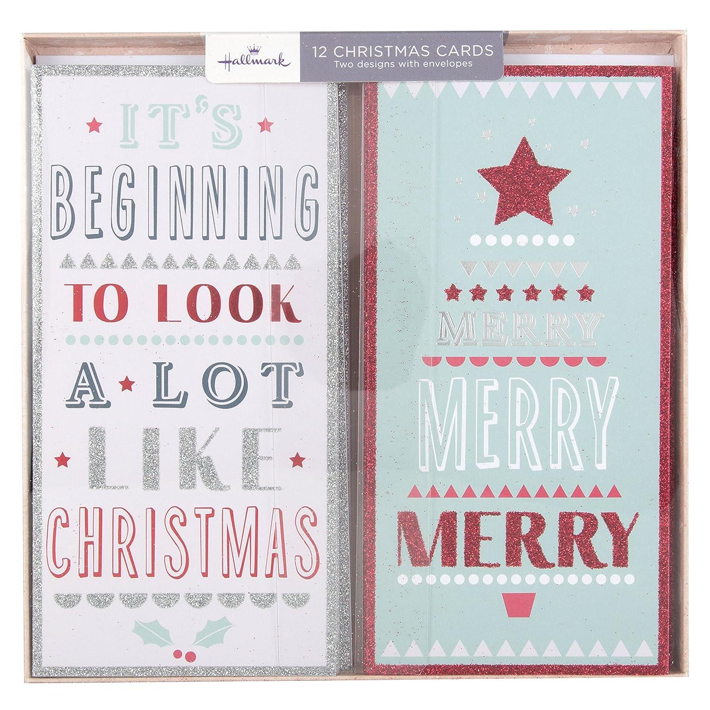 Hallmark Christmas Card Pack Merry 12 Cards 2 Designs Amazon