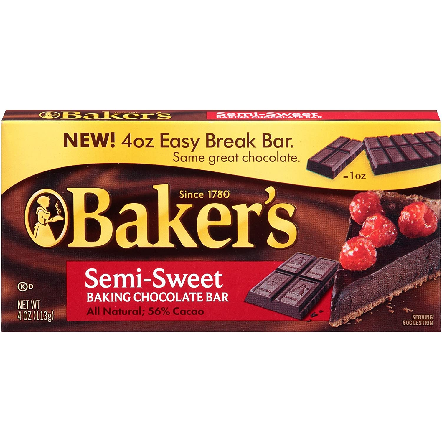 Amazon.com : Bakers Semi Sweet Baking Chocolate Bar, 4 Ounce -- 12 ...