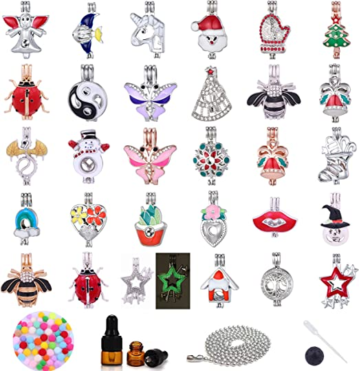 9 Pcs Mixed Dragon Angel Locket Pearl Cage Pendant for Necklace Bracelet Making