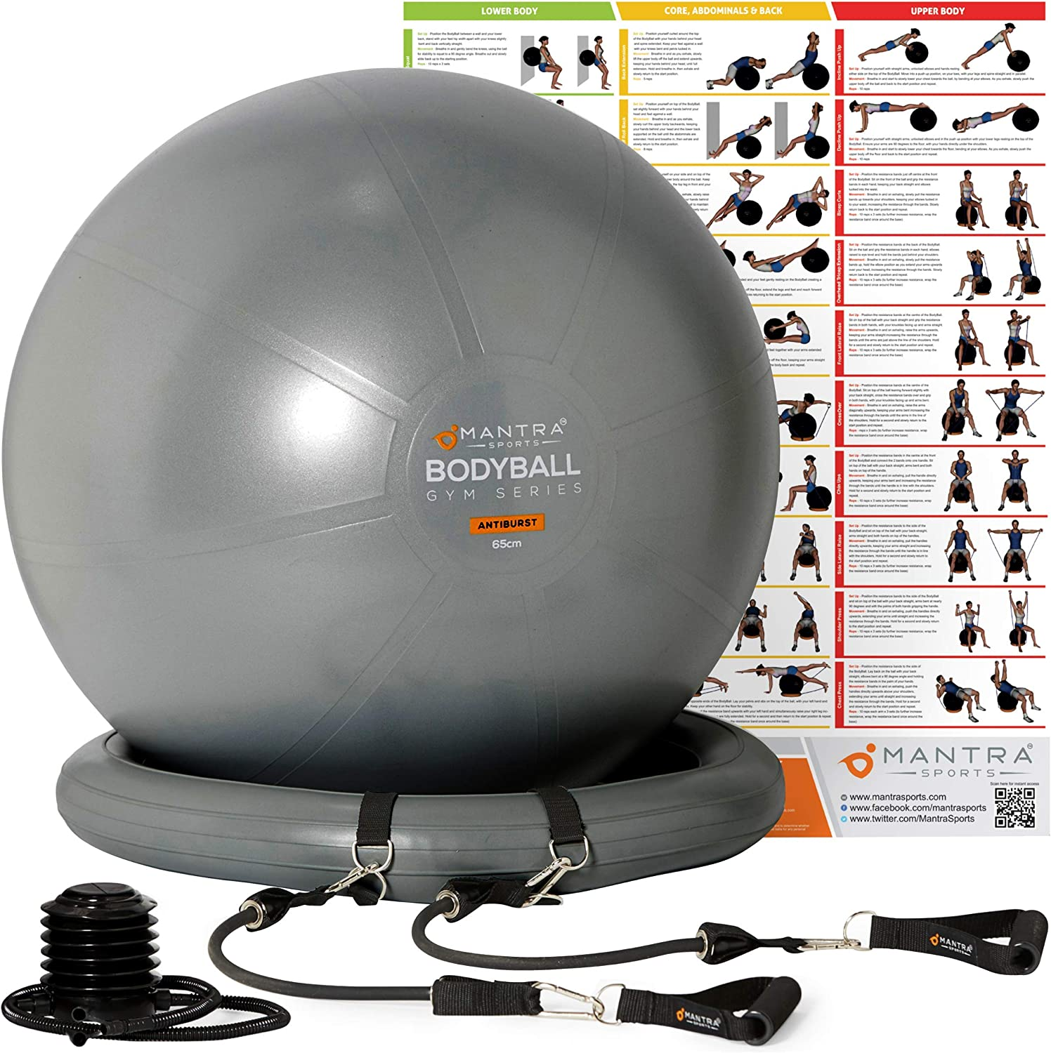 Exercise Ball Chair - 55cm / 65cm / 75cm Yoga Fitness Pilates Ball & Stability Base for Home Gym & Office - Resistance Bands, Workout Poster & Pump. Improve Balance, Core Strength & Posture