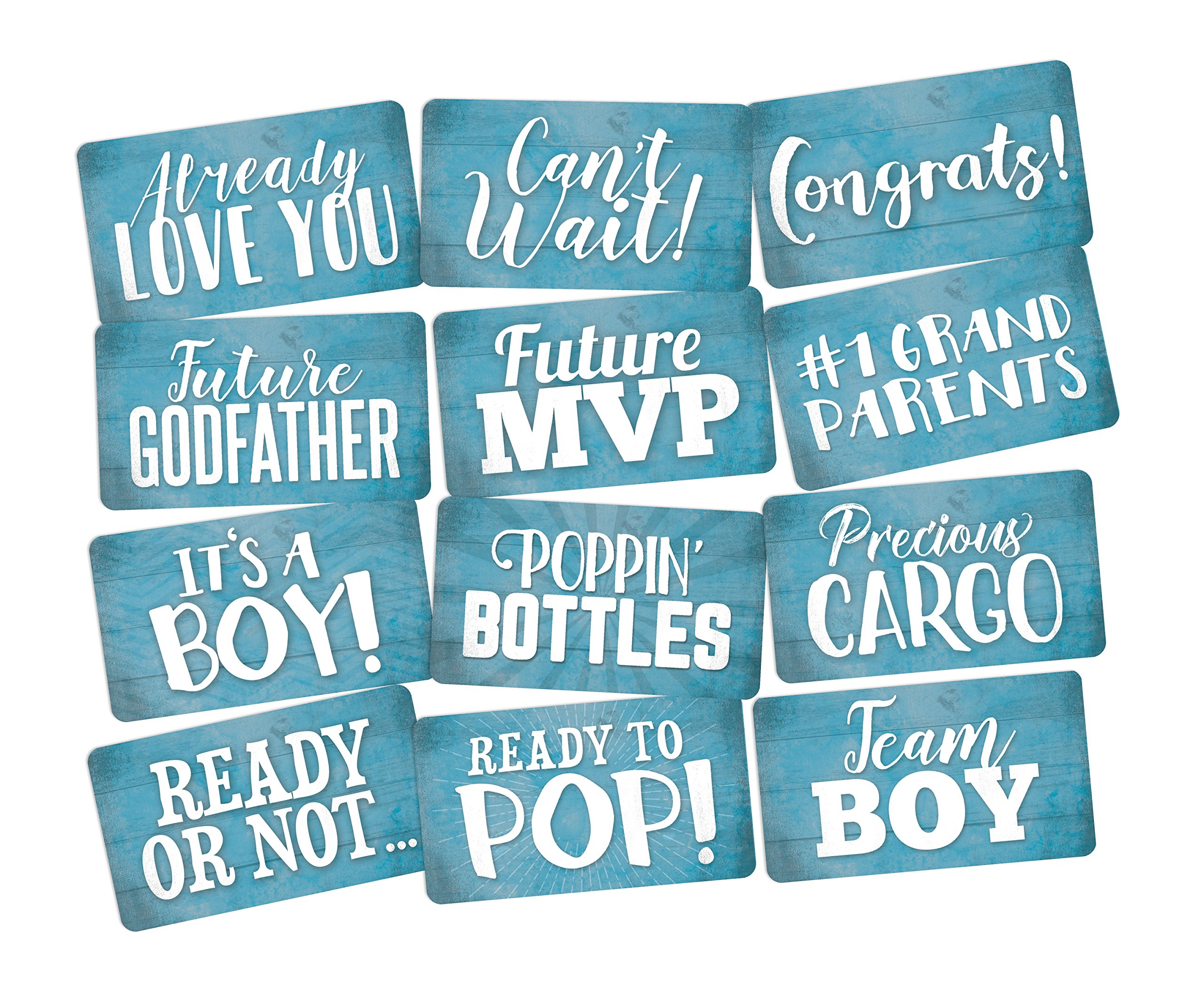 Photo Booth Props Set It's a Boy Perfect for Blue Baby Shower 6pc Double Sided by King Props LLC