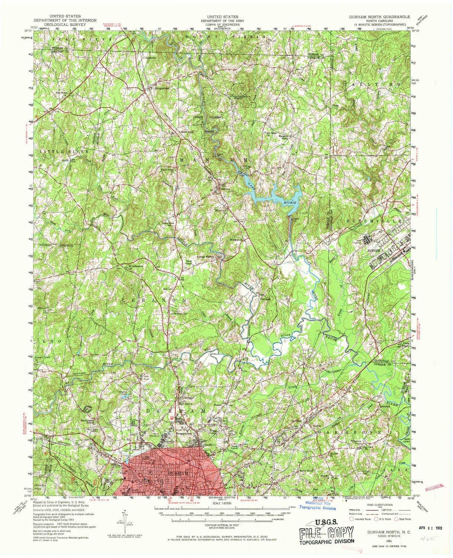 Amazon.com: YellowMaps Durham North NC topo map, 1:62500 Scale, 15 on