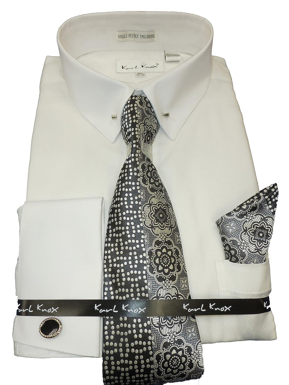 Karl Knox Sx4385 White Textured French Cuff Dress Shirt Eyelet