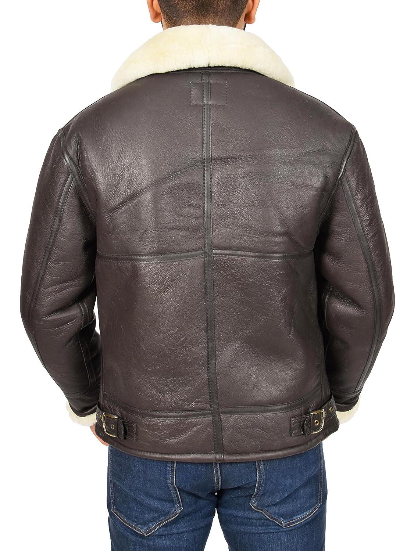 Amazon.com: Mens Real Brown Sheepskin Flying Leather Jacket White Shearling Bomber Coat Lancer: Clothing