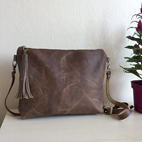 One of a kind distressed leather crossbody bag brown leather crossbody bag  brown leather jpg 500x500 af47134144a67