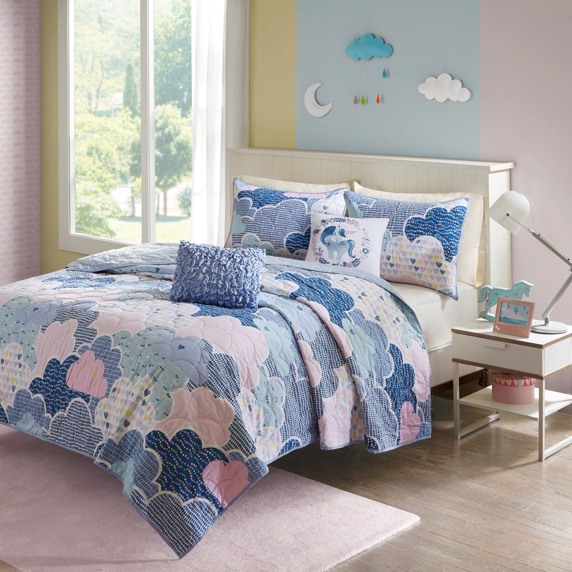 5 Piece Girls Blue Pink Purple White Color Cloud Themed Coverlet Full Queen Set, Sky Clouds Bedding, Playful Fun Polka Dot Heart Love Swirl Dots Pattern, Cotton by ON (Image #2)