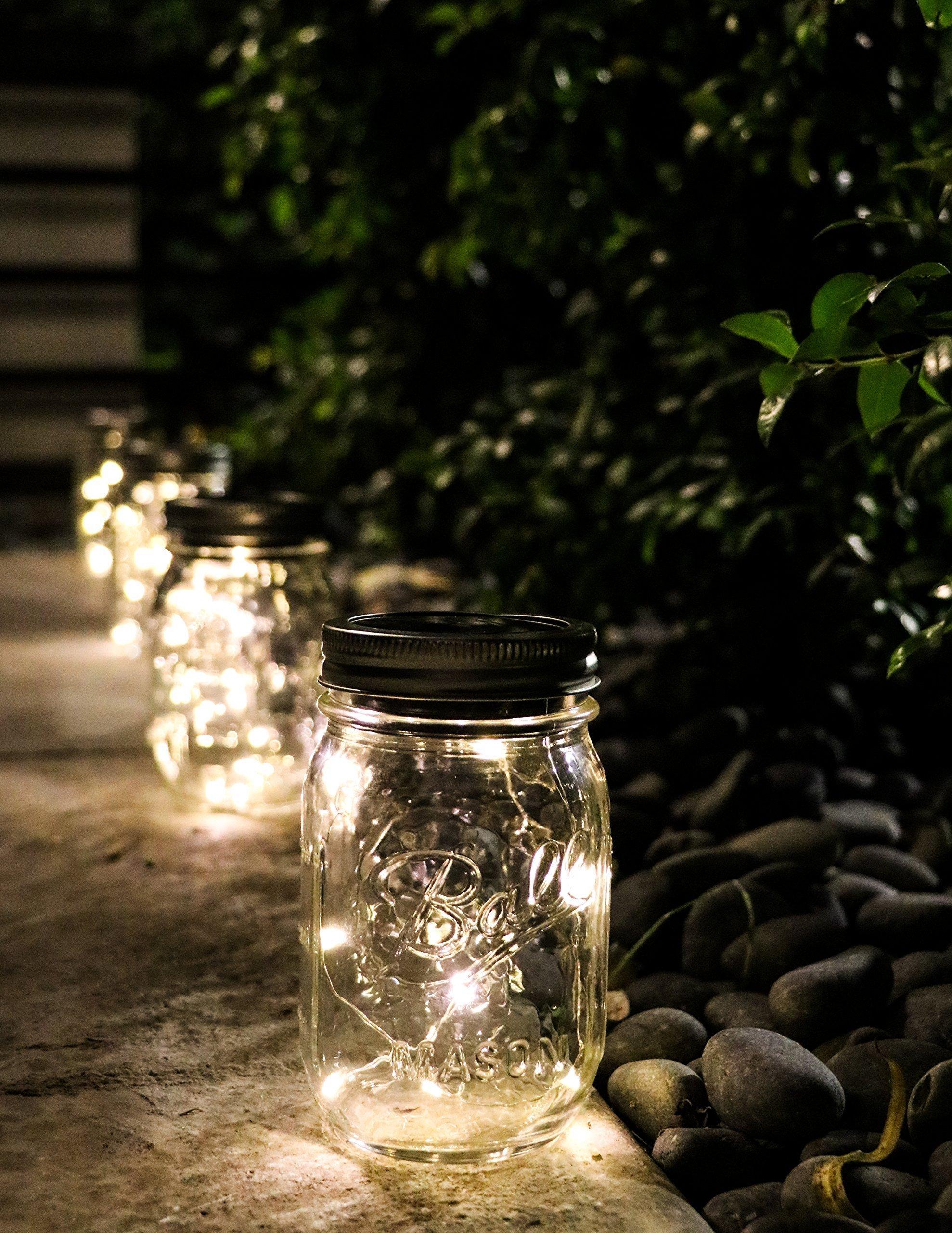 6 Pack -Solar Mason Jar Insert Lids - LED Mason Jar string light for Glass Mason Jars - Solar Pathway Garden Lights for all occasion parties -Jar Hangers Included Qty -6