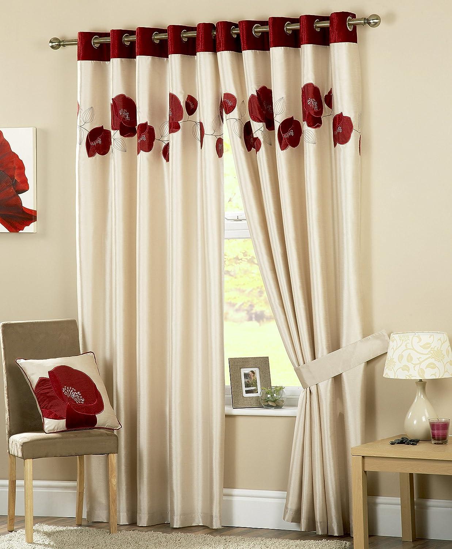 Curtina Danielle Double rideaux à oeillets 116 cm x 183 cm (Rouge ...