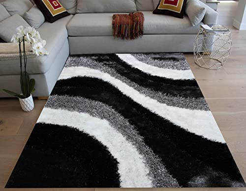 8×10 Feet Black White Two Tone Colors Large Shag Shaggy 3D Fuzzy Furry Area Rug Carpet Rug Bedroom Living Room Decorative Designer Modern Contemporary Soft Plush Pile Canvas Non Slip Backing Quality
