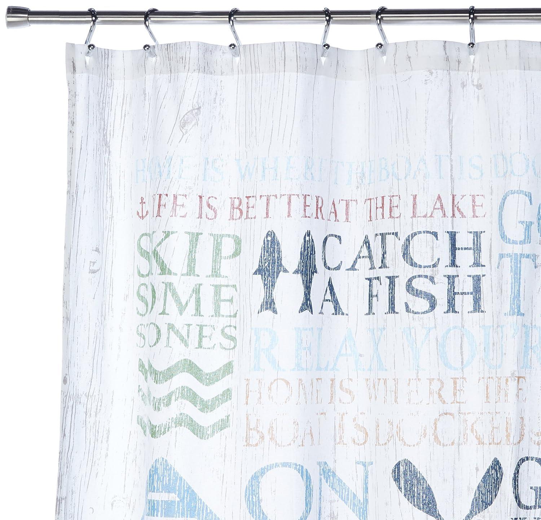 Amazon.com: Avanti Linens 13077HMUL Lake Words Shower Curtain ...