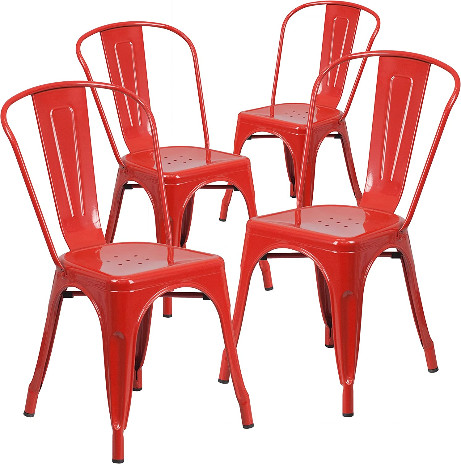 Flash Furniture 4 Pk. Red Metal Indoor-Outdoor Stackable Chair