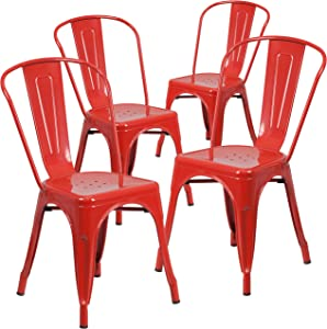 Flash Furniture 4 Pk. Red Metal Indoor-Outdoor Stackable Chair