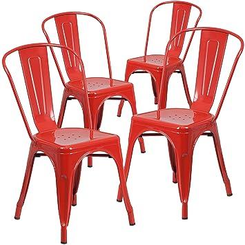 Amazoncom 4 Pk Red Metal Indoor Outdoor Stackable Chair Chairs