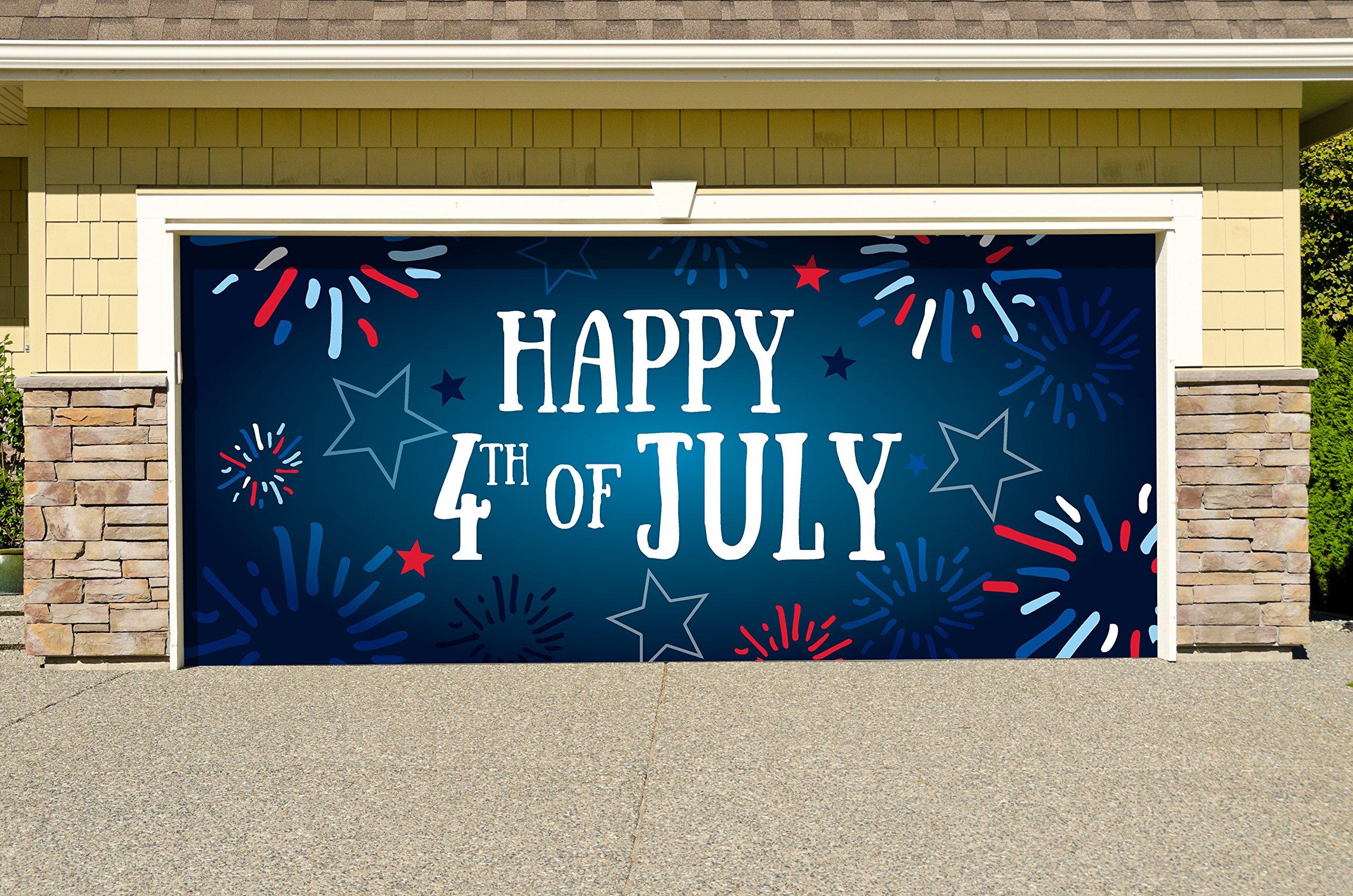 Outdoor Patriotic American Holiday Garage Door Banner Cover Mural Décoration - Fireworks Happy 4th of July - Outdoor American Holiday Garage Door Banner Décor Sign 7'x 16'