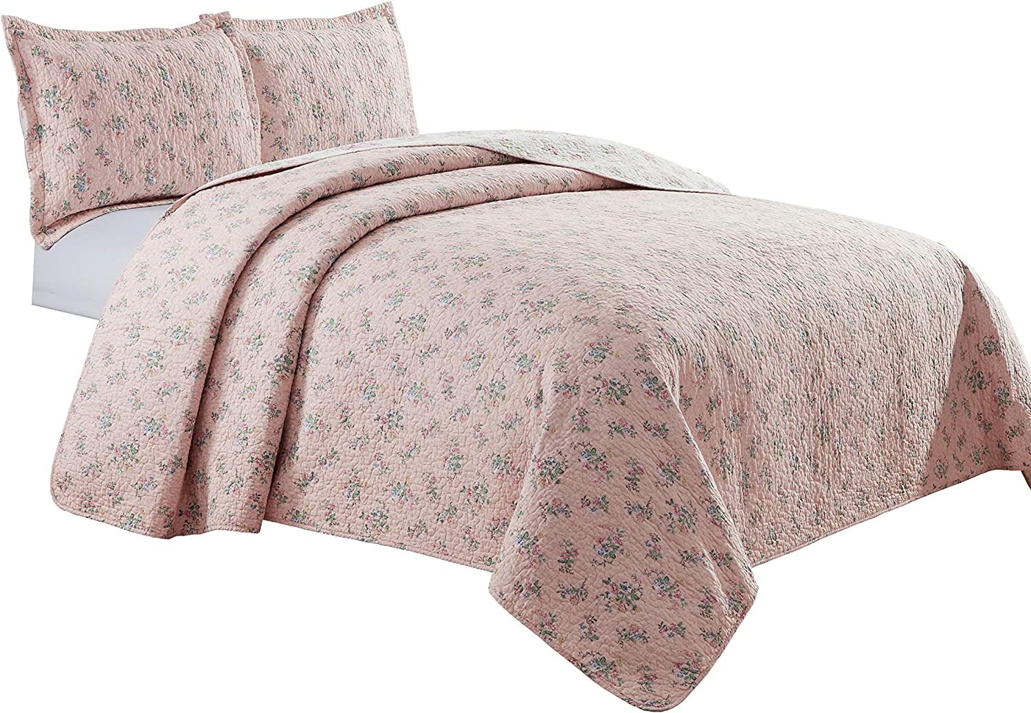Chezmoi Collection 3-Piece Pink Rose Floral Garden Reversible Vintage Washed 100%-Cotton Quilt Set (Queen)
