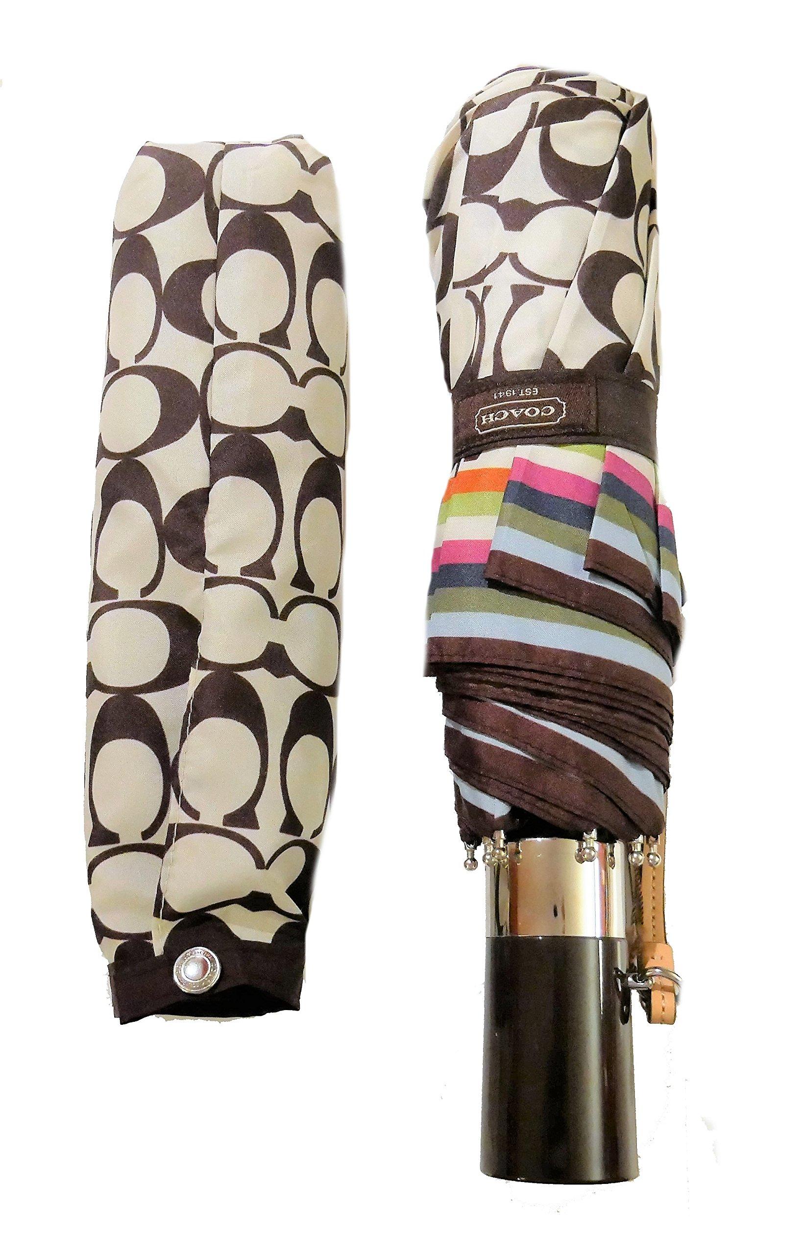 Authentic Coach Signature Legacy Stripe Umbrella Khaki Multicolor
